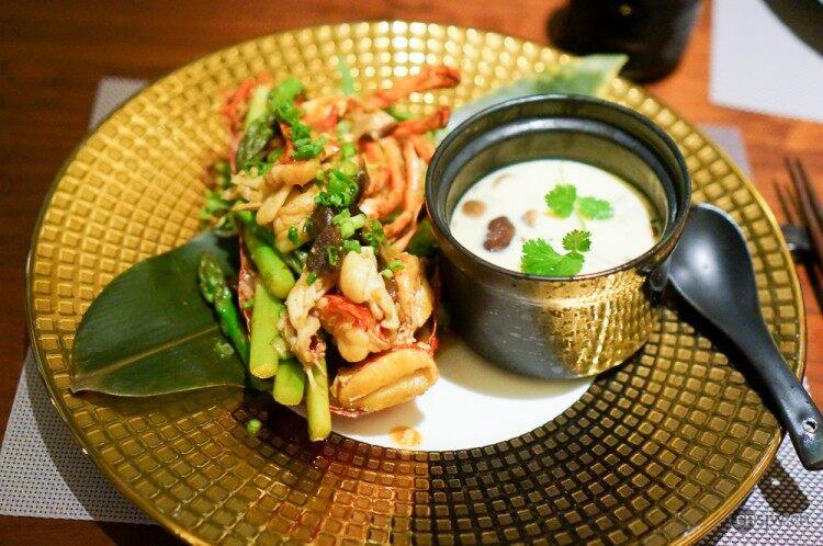 山葵酱炒龙虾配茶碗蒸
